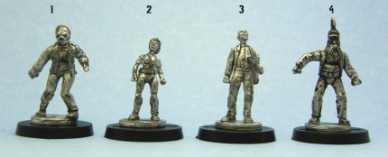 The first four models. They've been given a black ink wash to bring out the detail