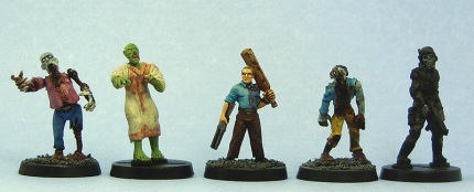 From left to right: Games Workshop, HorrorClix, Hasslefree, Copplestone Castings, HorrorClix