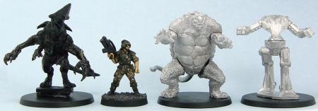 L to R: Pacific Rim Heroclix Knifehead, em4, Genbu, Reaper CAV Weasel