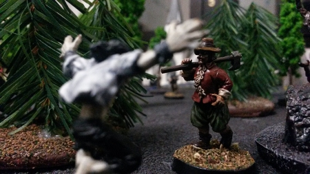In the woods the vampire attacks a villager