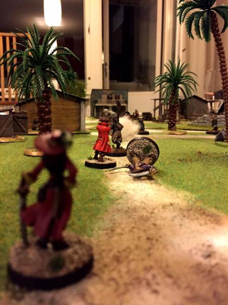 Pirate queen Violetta watches over her second in command Jack as the militia fights back