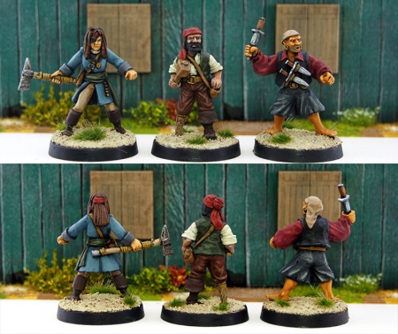 Three 28mm pirate miniatures