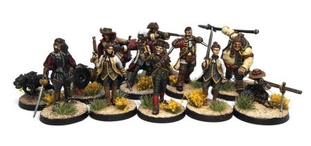 Group shot of pirate hunter miniatures